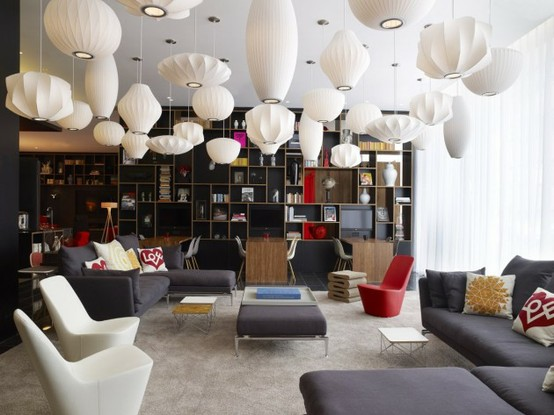 George nelson bubble lamps by herman miller for M design hotel