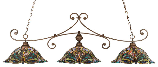 Toltec Lighting 353-BRZ-990 Traditional Curl 3 Light Billiard Light Bronze