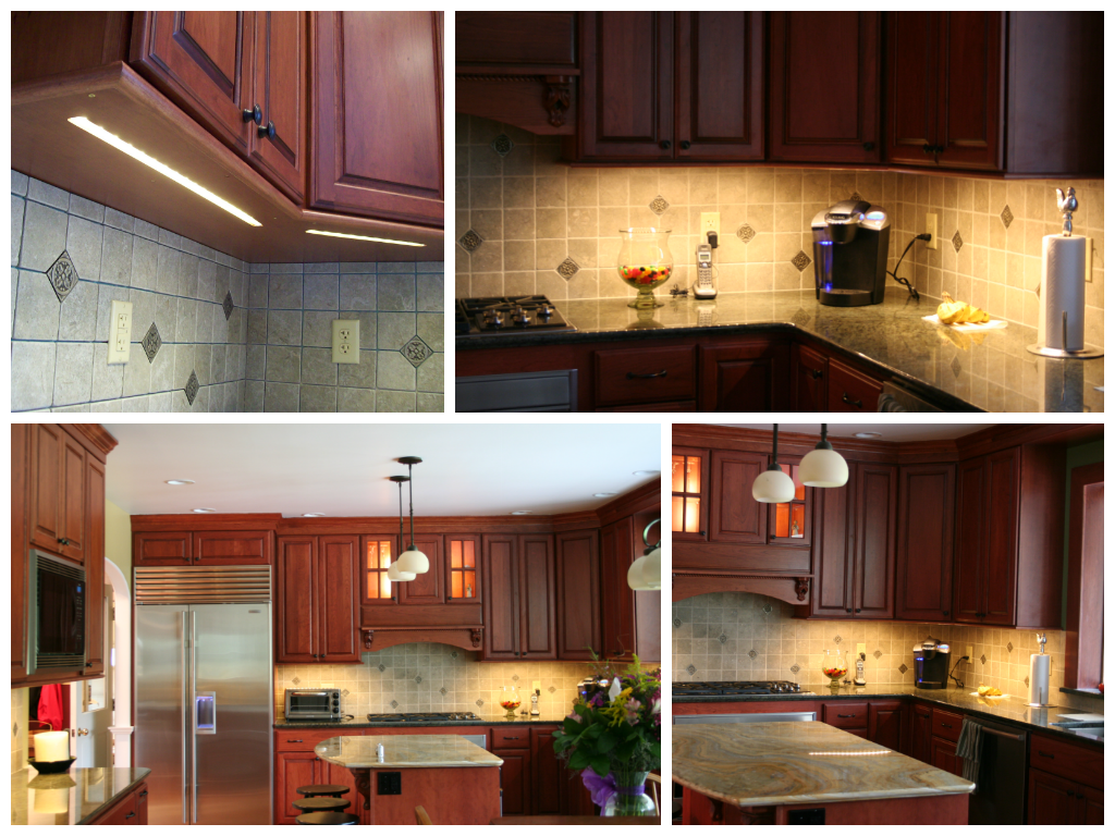 An LED light strip adds dimension and functionality to this kitchen without the additional clutter of customary fixtures