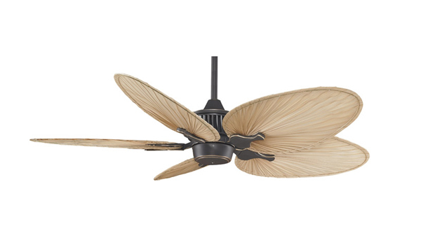 Bronze Accent Finish – 22″ natural finish narrow oval natural palm leaf blades – Fanimation MAD3255 Louvre Ceiling Fan