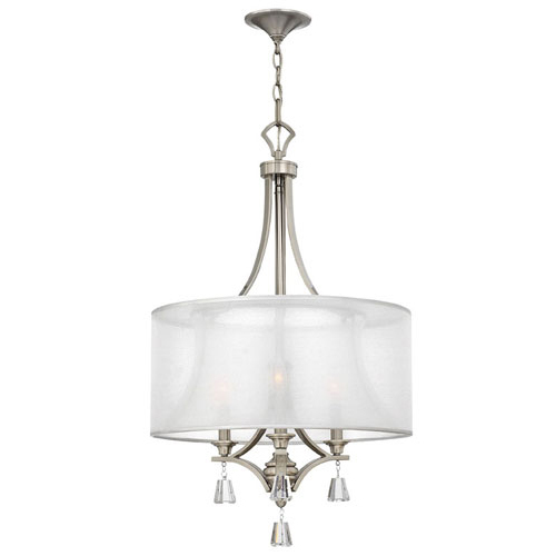 Brushed Nickel Finish-Hinkley Lighting FR45606BNI Mime 3 Light Chandelier Brushed Nickel FR45606BNI