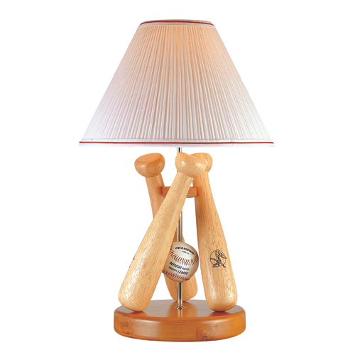 Natural Wood Finish - Lite Source 3TB40107 Triple Bat Triple Baseball Lamp