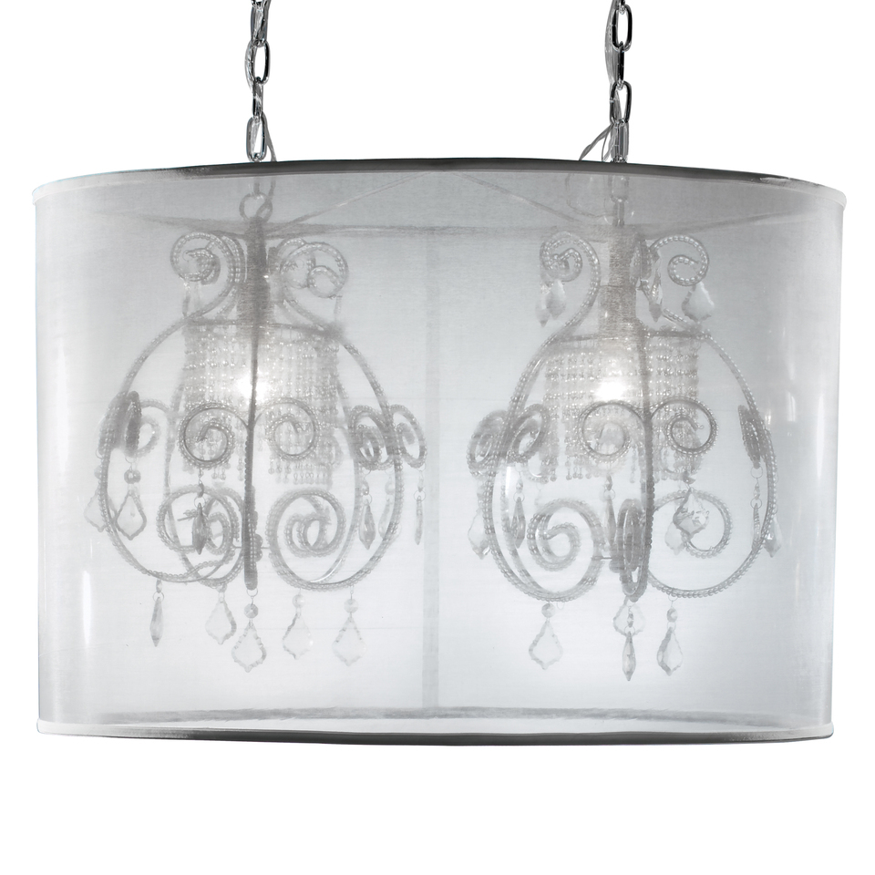 Eurofase 14870-019 Desire, 2-Light Double Pendant, Nickel/SILVER GAUZE