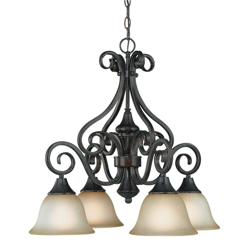 Burnished Armor Finish - Jeremiah Lighting 24924-BA Torrey 4 Light Down Chandelier