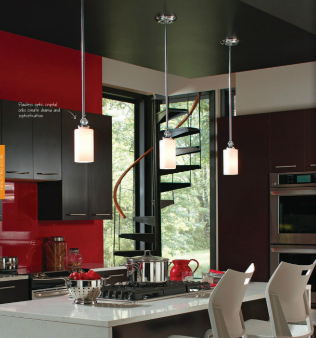 Englehorn One Light Mini Pendants with Optic Crystal Accents