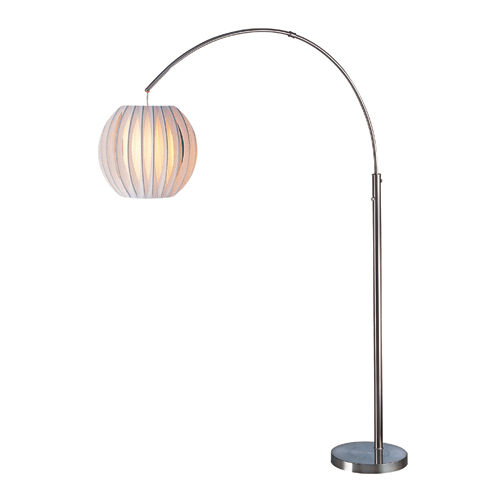 Polished Steel Finish - Lite Source LS-8870PS/WHT Deion Arch Lamp