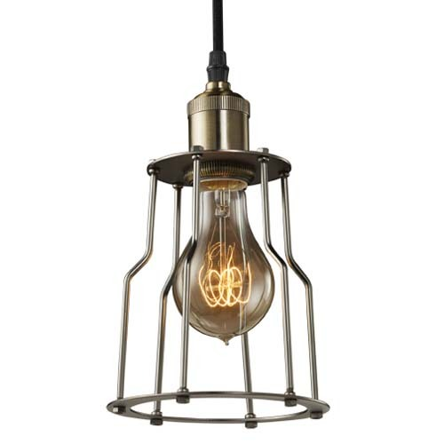 Bulbrite NOS/PEND/CAGE-PW Vintage 1-Light Brass Industrial Cage Mini Pendant, Pewter