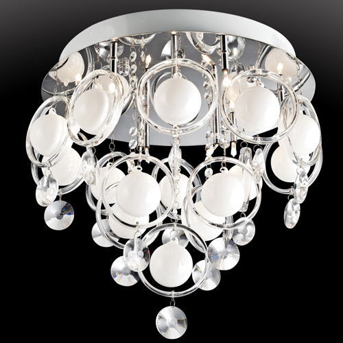 Lite Source EL-50077 Bubbles Crystal Flush Mount Lamp Chrome