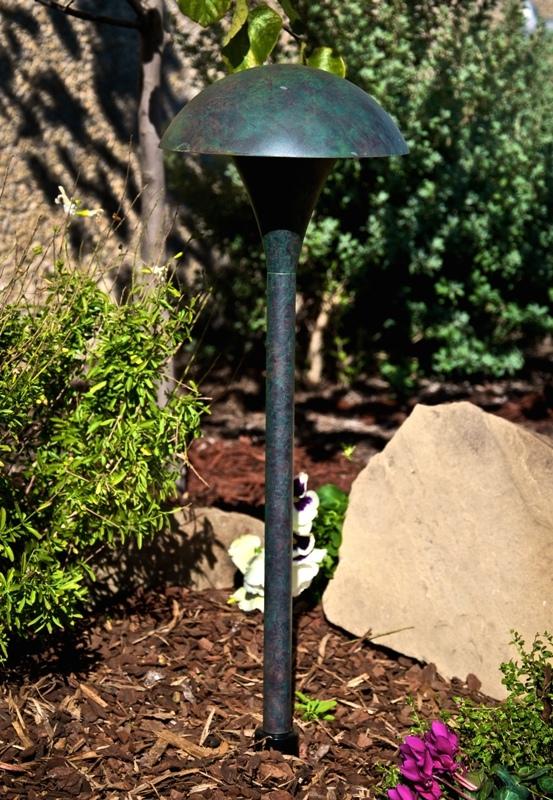 Hadco Lighting MU5 Medium Mushroom Pathlyte 120V In Oiled Brass