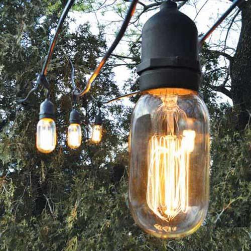 Bulbrite STRING15/E26 Outdoor String Light, 48-Feet, 15 Light Sockets