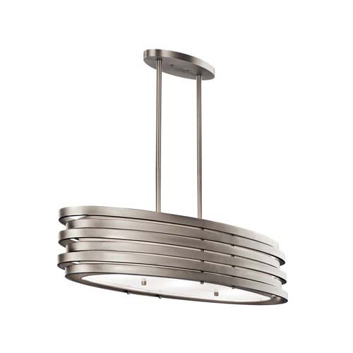 Kichler Lighting 43303NI Roswell 3 Light Oval Pendant Brushed Nickel