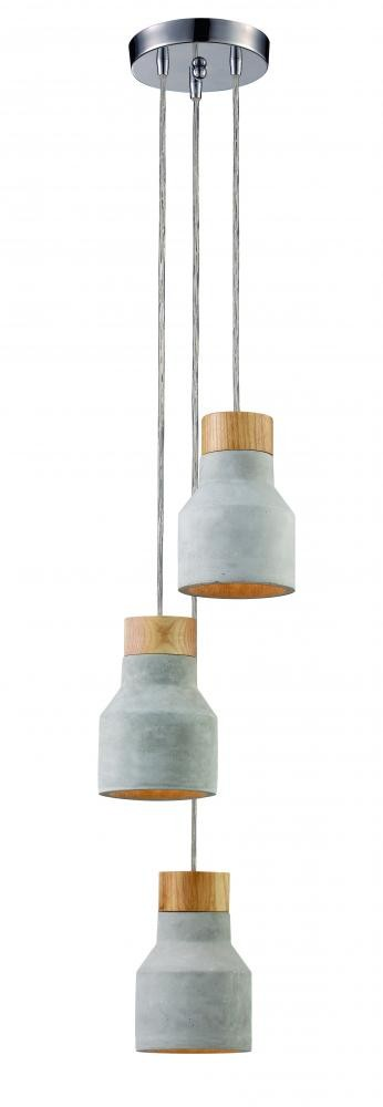 3LT PENDANT-CONCRETE + WOOD By: Trans Globe