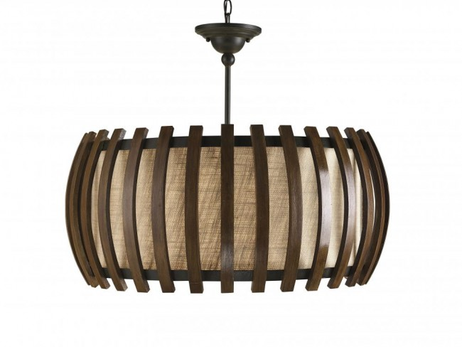 Wood Drum Shade Pendant By: Currey & Company