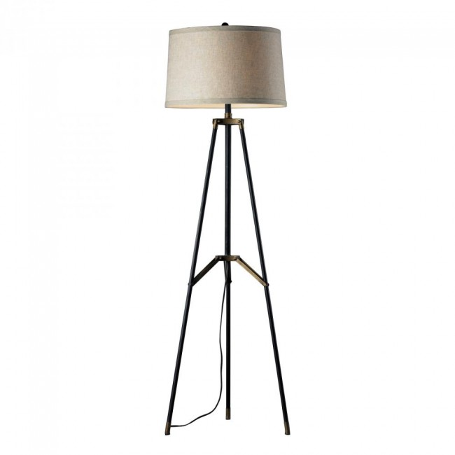 "54"" Functional Tripod Floor Lamp in Restoration Black and Aged Gold By: Dimond Lighting"