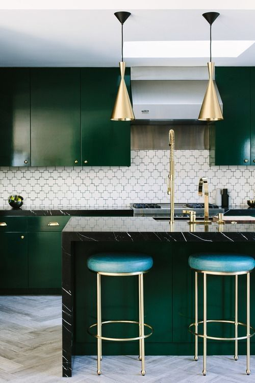 Deep colors in kitchens are part of the New Farmhouse Style