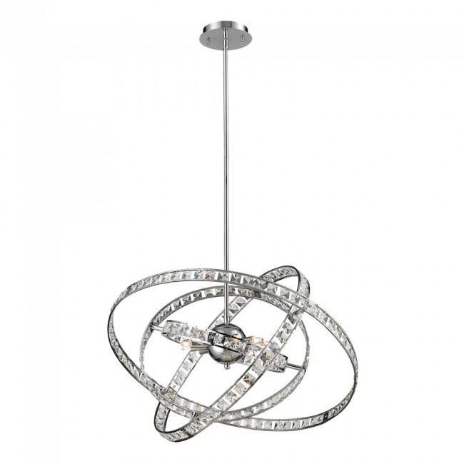 6 Light Crystal Pendant Lamp In Clear & Chrome Finish By: ELK Lighting