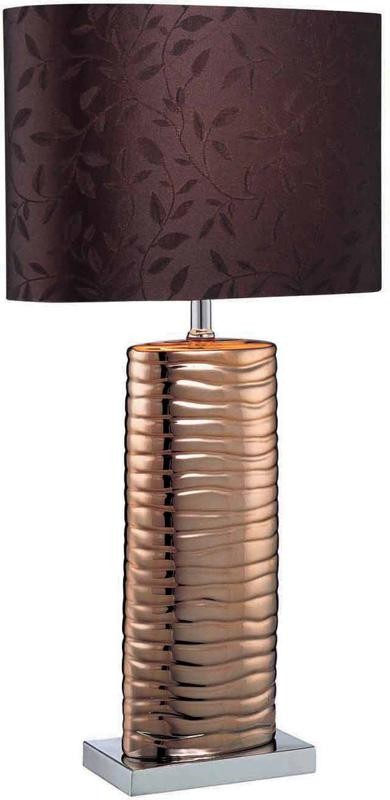 Table Lamp, Copper Ceramic/Chrome/Brown Fabric, E27 Cfl 13W By: Lite Source