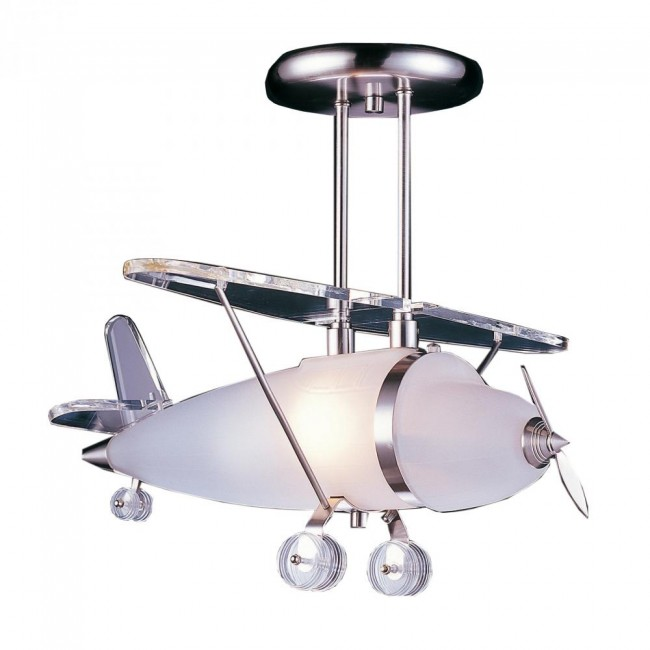 1 Light Biplane Shape Pendant In Satin Nickel