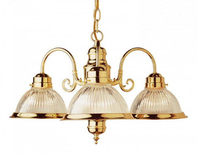 Three Light Polished Brass Clear Ribbed Halophane Glass Down Chandelier By: Trans Globe