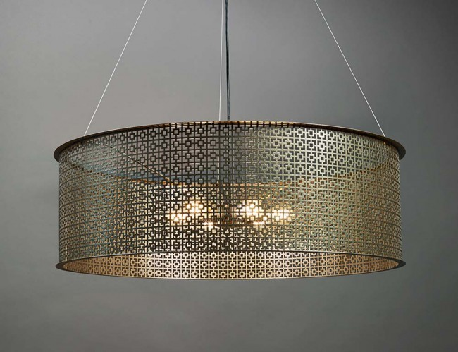Clarus 6 Light Large Angles Ceiling Pendant in Smokey Brass By: Ultralights Lighting